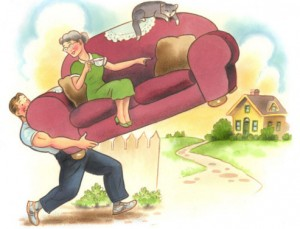 cartoon of a man lifting a sofa with wife and cat